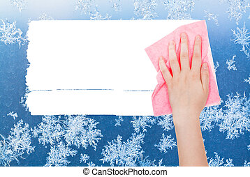 hand deletes winter frosty pattern by pink rag - weather...