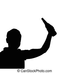man with bottle black vector