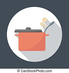 Saucepan with lid open Foods Service round icon with long...