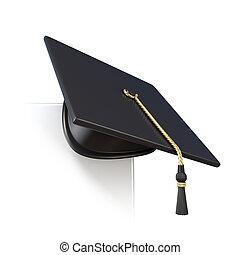Graduation cap on blank corner - Graduation cap on blank...