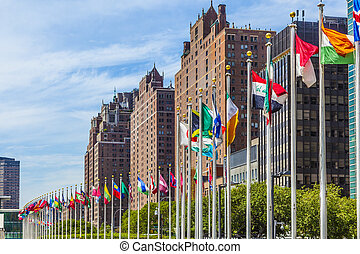 United Nations Headquarters with flags of members of the UN...