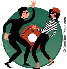 Beatniks - Beatnik couple dancing, vinyl record on the...