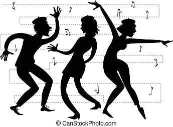 Beatnik party - Silhouette of beatniks dancing, EPS 8