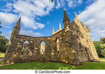 Convict Church Port Arthur - Ruins of the Church Convict,...