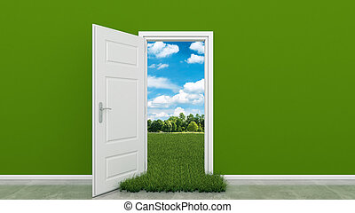 open door with landscape