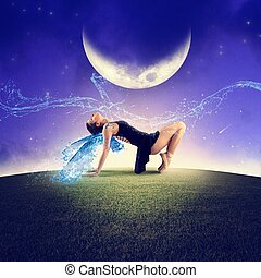 Dancing under the moon - Dancer with wings dancing under the...