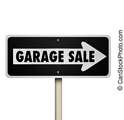 Garage Sale Road Sign Pointing Way Rummage Moving Lawn...