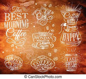 Coffee signs kraft - Set of coffee signs lettering drawing...