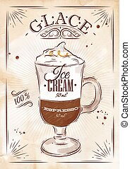 Poster glace kraft - Poster coffee glace in vintage style...