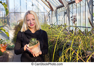 Florists woman working in greenhouse - Portrait of florists...