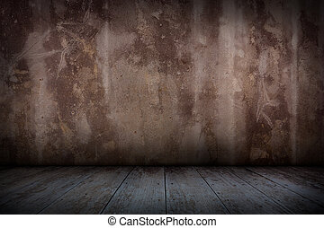 Old concrete wall and wooden floor.