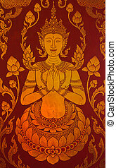 Traditional Thai style painting art