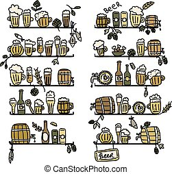 Shelves with beer icons, sketch for your design