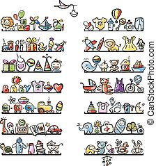 Shelves with baby icons for your design Vector illustration