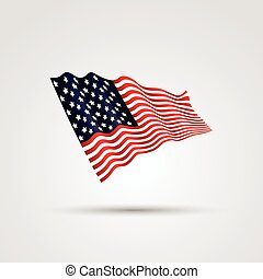 Flag of the USA , isolated on white