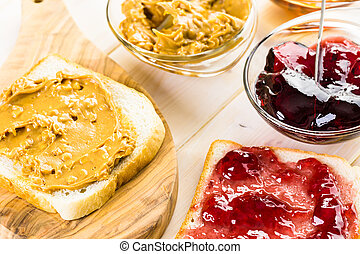 Peanut butter sandwich - Homemade peanut butter and jelly...