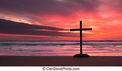 Fire Sunset Cross