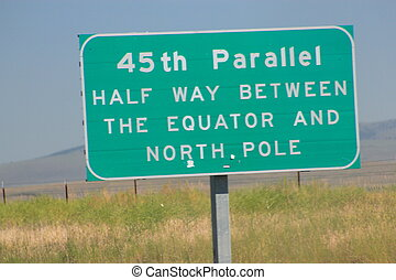 45th Parallel road sign
