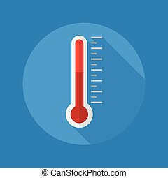 Weather Flat Icon. Thermometer - Weather Flat Icon With Long...
