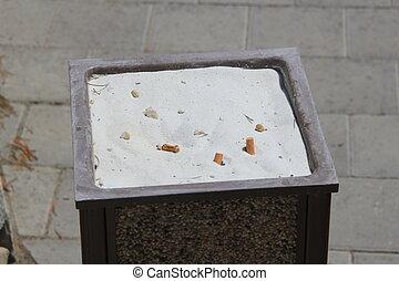 Bin for cigarette disposal