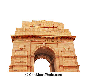 India Gate memorial in New Delhi, India Isolated on white...