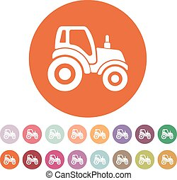 The tractor icon. Agrimotor symbol. Flat Vector...
