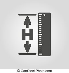 The height icon. Altitude, elevation, level, hgt symbol....