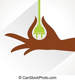 Hand with electric-plug stock vector