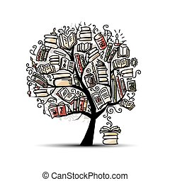 Book tree, sketch for your design Vector illustration