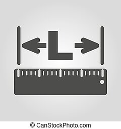 The length icon. Longitude, yardage, lgth symbol. Flat - The...