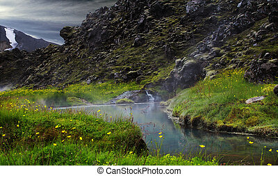 Landmannalaugar. A hot spring in the mountains of Iceland.