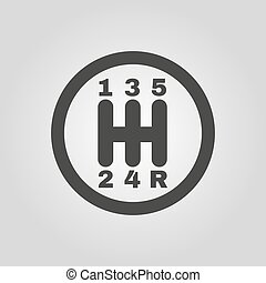The manual gearshift icon. Car and transmission symbol. Flat...
