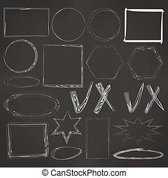 set of drawn frames - Illustration of Hand-Drawn Doodles and...