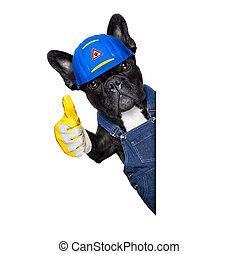 handyman dog - handyman dog worker with helmet and thumb up...