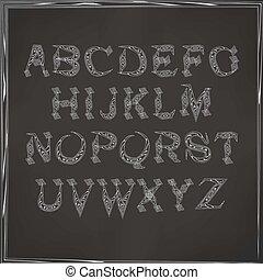 English alphabet cursive - vector illustration of cursive...