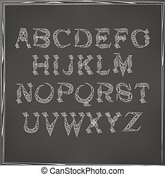 English alphabet cursive - vector illustration of cursive...
