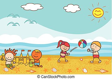 Happy kids playing ball and sand castle at Beach