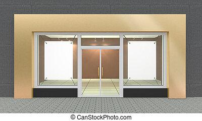 vazio, Ouro, loja, frente, com, grande, janelas, com, borda,...