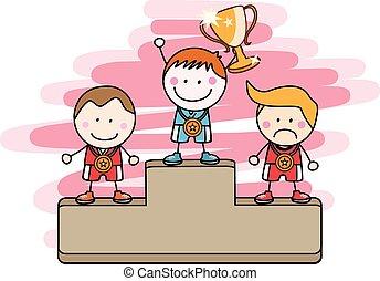 niños, ganador,
