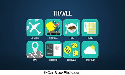Travel icon set animation,airline,suitcase, food, hotel,...