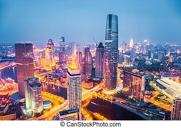 tianjin at night - modern city skyline at night in tianjin ,...