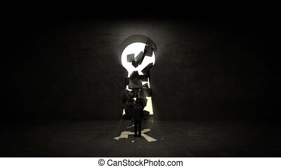 businessman Standing Key wall - businessman Standing in...