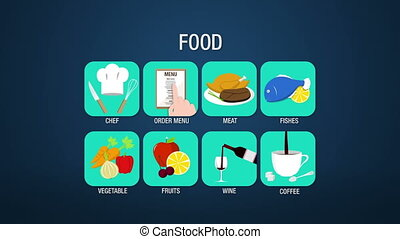 Food icon set animation, chef,order menu, meat, fishes,...