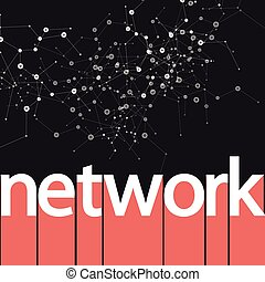 Vector abstract network on dark cool design