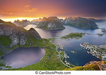 Lofoten Islands. - View from Reinebringen at Lofoten...