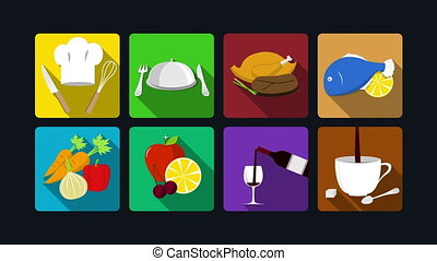 Dining icon animation: cooking,chicken. fish, vegetables,...