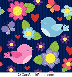 Seamless flower pattern - Seamless vector pattern with blue...