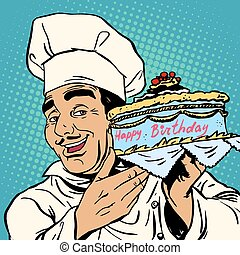 Pastry chef with birthday cake. The Italian man happily...