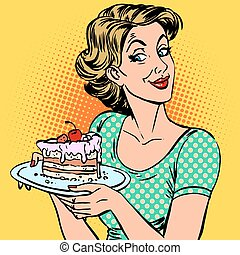 woman dessert cake - A woman and a dessert a piece of cake...