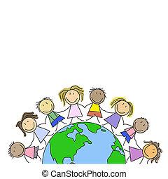 kids world, children globe graphic - Kids on world holding...